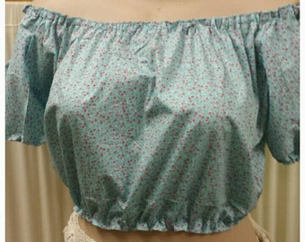 Gypsy  Peasant Top Bohemian Rockabilly Pinup Blouse Size 12