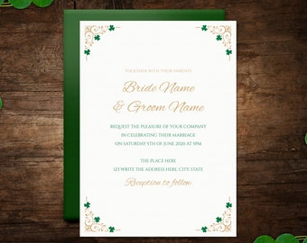 DIY Printable 5x7 Wedding Invitation Template | Celtic | Irish | Gold | Shamrock | INSTANT DOWNLOAD - Microsoft Word