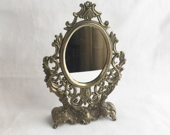 ON SALE vintage ornate gold mirror/tabletop brass ornate small mirror/victorian table mirror