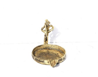 Brass Ashtray, Vintage Ashtray, Figure Ashtray, Rustic Ashtray, Caracter Ashtray