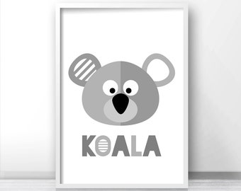 Printable Nursery Art, Animal Nursery Print, Kids Wall Art Print, Koala Baby Wall Art, Gray Nursery Decor, Kids Print, Baby Animal Art Print