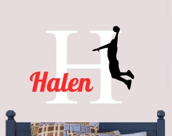 Personalized, Basketball, Player, Dunk, Initial, Name, Children, Vinyl, Wall, Decal, Nursery, Bedroom, Home, Decor, Sports, Athlete