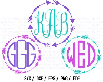 Tribal Arrow Circle Monogram Frame Design Files, Use With Silhouette Software, DXF Files, SVG Font, EPS File, Svg Font, Silhouette - CA353