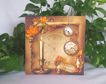 Fall Birthday Card, Birthday Card for Father, Vintage Birthday Card, Autumn Birthday Cards, Fathers Day Card, Vintage 3D Greeting Cards