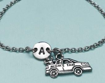 Moms taxi charm bracelet, mom bracelet, mom charm, adjustable bracelet, personalized bracelet, initial bracelet, monogram, car charm