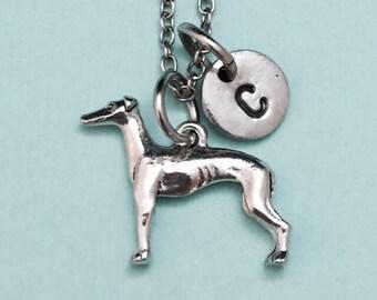 Greyhound dog necklace, greyhound charm, animal necklace, personalized necklace, initial necklace, initial charm, monogram, animal jewelry