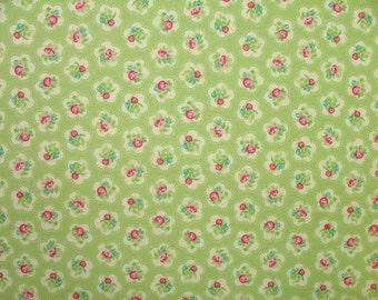 Dainty Flowers Green Multi Use Cotton Fabric