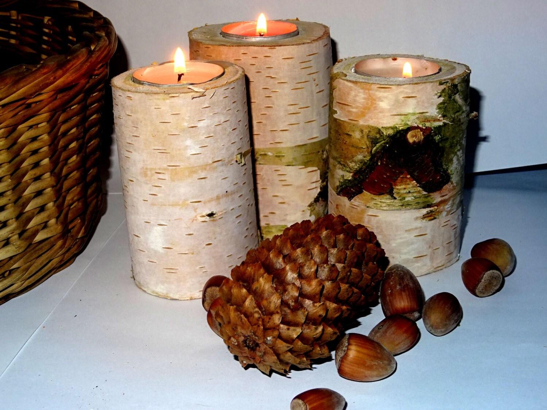 Wood candle holder wooden tea light holder log tea light for Log candle holder how to make
