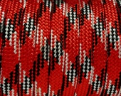 100 Feet Of Red Black White 550 Paracord/Parachute Cord Lanyard Mil Spec Type III 7 Strand Core#132