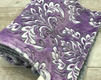 Baby Girl Blanket, Damask Baby Girl Faux Fur Baby Blanket, Baby Shower Gift, Purple and Gray Minky Baby Girl Blanket