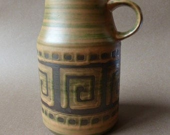 Dümler & Breiden vintage vase 345/20 brown geometrical decor West-Germany