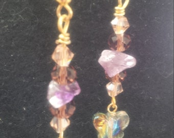 Butterfly Amethyst Fantasy Dangles with Jewelry Pouch