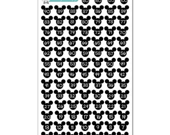 Disney Vacation Extended Countdown Stickers - Disney Planner Stickers