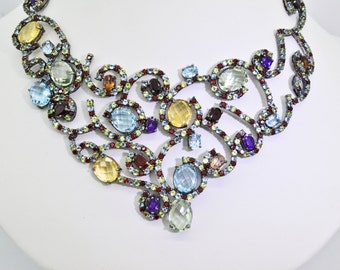 Sterling Silver and Multiple Gemstones 16 inch Necklace 91.3 grams