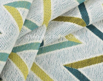 10 Metres Of Quality Soft Woven Chenille Blue Green Chevron Striped Pattern Upholstery Fabric For Sofas Curtains Home Interiors Furniture