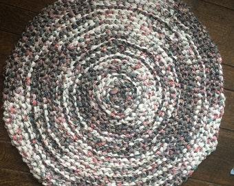 White and Black Crocheted Rag Rug