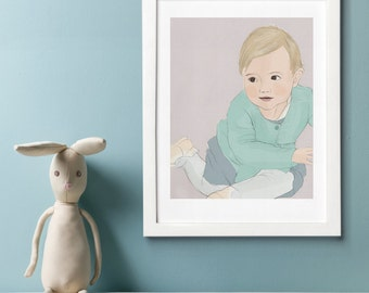 Hand drawn Child Portrait from your photo template, precious memory, individual present
