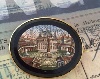 Micro-mosaic antique Rome Vatican gold brooch from 1877 with inscription