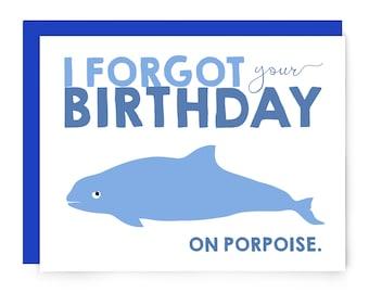 Forgot Your Birthday on Porpoise greeting card - blue dolphin cetacean - funny - friendship - happy birthday card - nerdy card - blank card