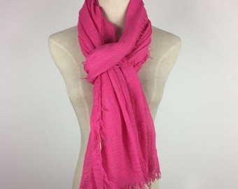 Fuchsia Scarf Fringe Scarf Pink Scarf Summer Scarf Fuchsia Shawl Soft Scarf Solid Color Scarf Large Scarf Gift For Her Hot Pink Scarf Wrap