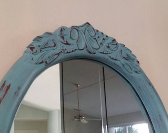 Distressed mirror - shabby chic mirror - BEAUTIFUL COLOR.