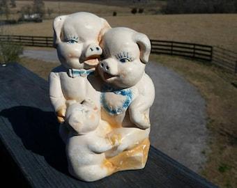 Three Pigs Piggy Bank Ceramic Vintage