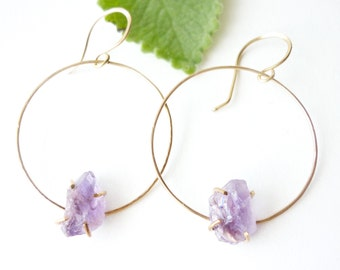 Raw Amethyst Gold Filled Hoops