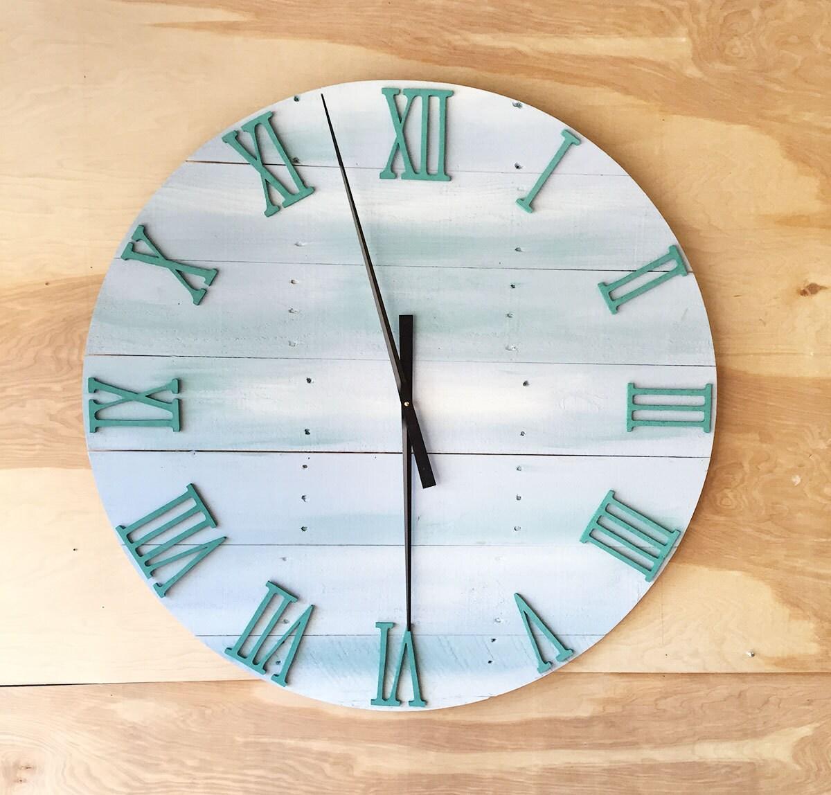 oversized wood wall clock 36 by beachwalldecor