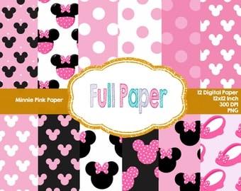 Minnie Pink Digital Paper-Minnie Pink Polka Paper-Minnie Party Supplies-Digital paper-Paper Minnie-Paper Supplies