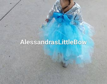 Frozen full lenght tutu skirt, frozen birthday outfit flower girls tutus toddler girls frozen tea party tutu winter cake smash outfit