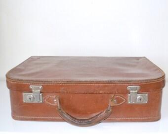 Old leather, vintage, vanity, brown suitcase, suitcase