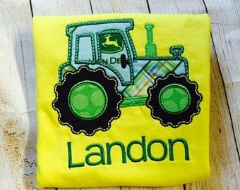 Tractor Applique, Tractor personalized shirt, tractor birthday shirt, john deere tractor birthday party