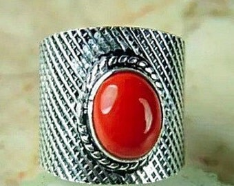 Sale RED CORAL RING - Size 7.5 - Sterling Silver Ring- Gemstone Ring- Promise Ring- Natural Stone Ring