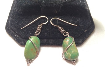Vintage 925 sterling sliver turquoise earrings