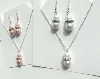 Bridesmaid  Jewelry Set, Bridesmaids Jewelry, White and light Pink Glass Pearl Pendant and Earrings Set