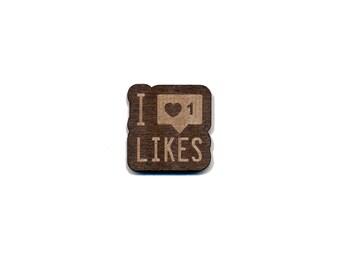 I Love Likes (Instagram) Laser Cut Lapel Pin
