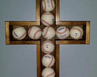 Baseball Cross wooden shadowbox
