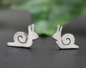 Sterling Silver Snail Earrings, Snail Jewelry, Slug Jewelry, Slug Earrings, Animal Earrings, Silver Stud Earring, Garden Gifts, Botanical