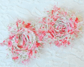 Pink Floral Hair clip set, Set of two flower Hair clips, Girls Flower Hair Clippies, Shabby Hair Accessory