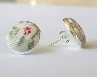 Vintage floral fabric earrings/ vintage fabric/ fabric buttons/ vintage earrings/ fabric earrings/ gift for her