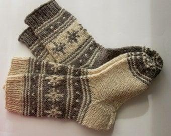 Wool Socks For Men, Knitted Wool Socks, Women's Socks, Snowflakes Socks, Winter Socks, Christmas Gift, Gray Wool Socks, Christmas Stockings