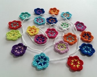 Crochet Garland of Flowers, Wallhanging, Bunting, Home Decor, Nursery Room
