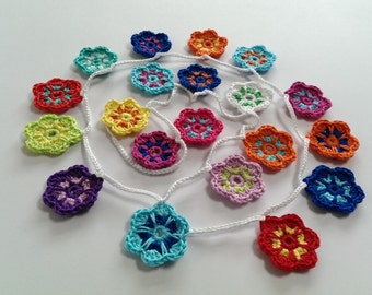 Crochet Garland of Flowers, Wallhanging, Bunting, Home Decor, Nursery Room