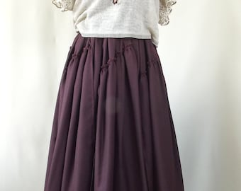 Maxi skirt. Pleated Skirt. BURGUNDY plaid. Boho skirt.