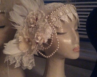 Bespoke Vintage Bridal Headwear, beautifully handmade, with freshwater pearls. guipure lace and Vintage silks