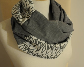 Tribal and Grey Infinity Scarf