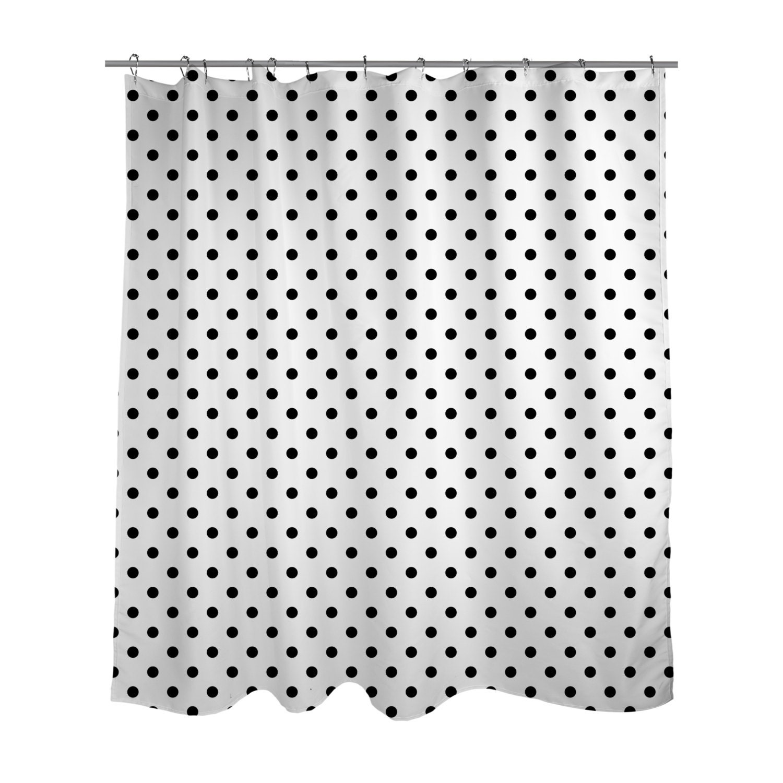 shower curtain black and white polka dots choose your color. Black Bedroom Furniture Sets. Home Design Ideas