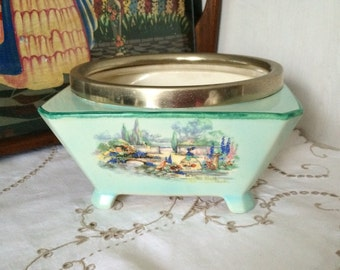 """Lancaster & Sons """"In an Old World Garden"""" Vintage Footed Fruit Bowl with EPNS Trim - Made In England"""