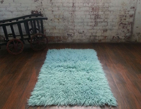 Stylish 3 X 5 Mint Green Flokati Shag Rug Nice