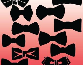 12 Bow Tie Silhouette Digital Clipart Images, Clipart Design Elements, Instant Download, Black Silhouette Clip art